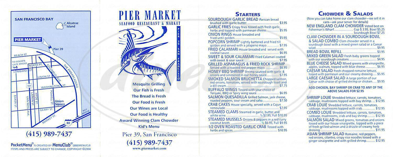 menu for Pier Market