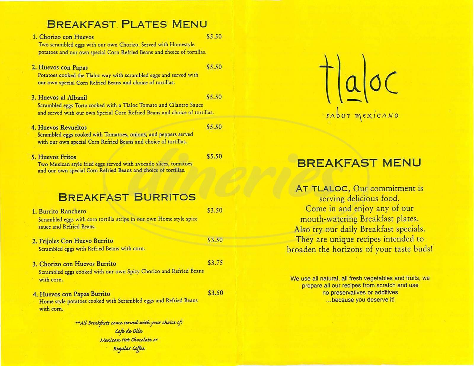 menu for Tlaloc