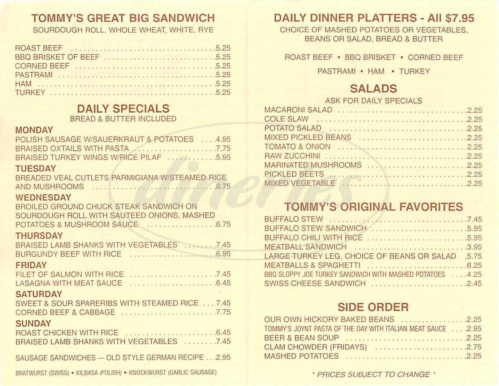 menu for Tommy's Joynt