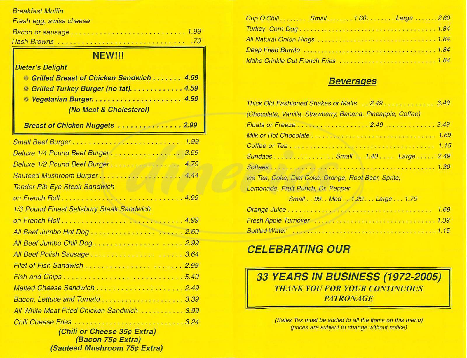 menu for Tony's Cable Car