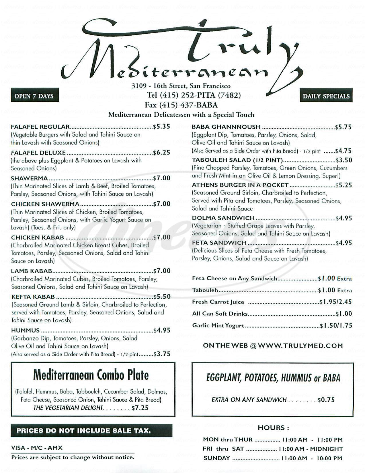 menu for Truly Mediterranean