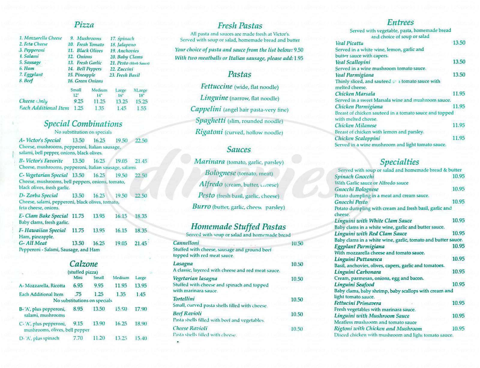 menu for Victors Pizza & Restaurant