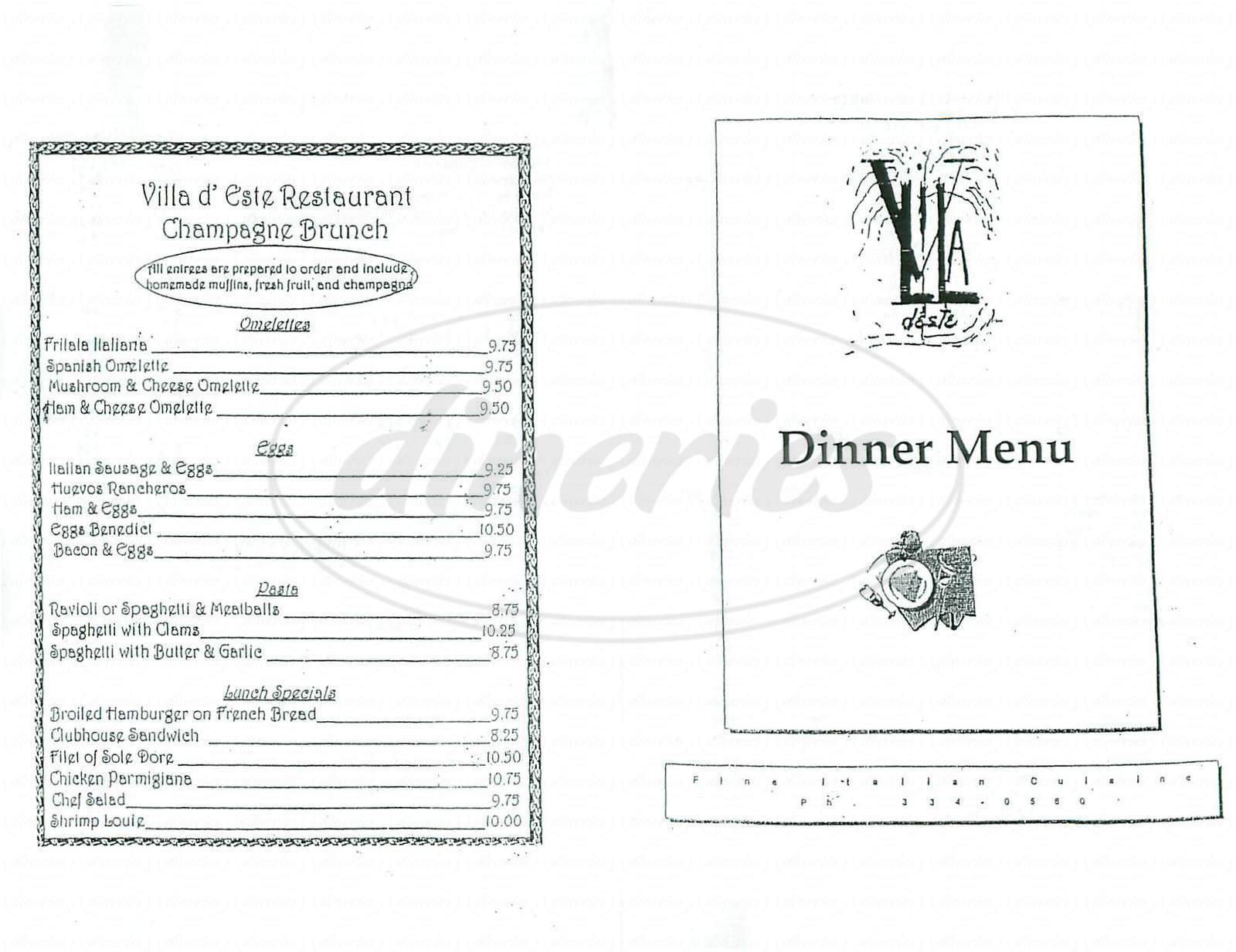 menu for Villa D' Este