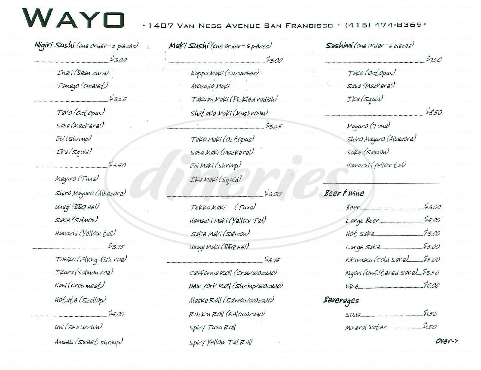 menu for Wayo Sushi