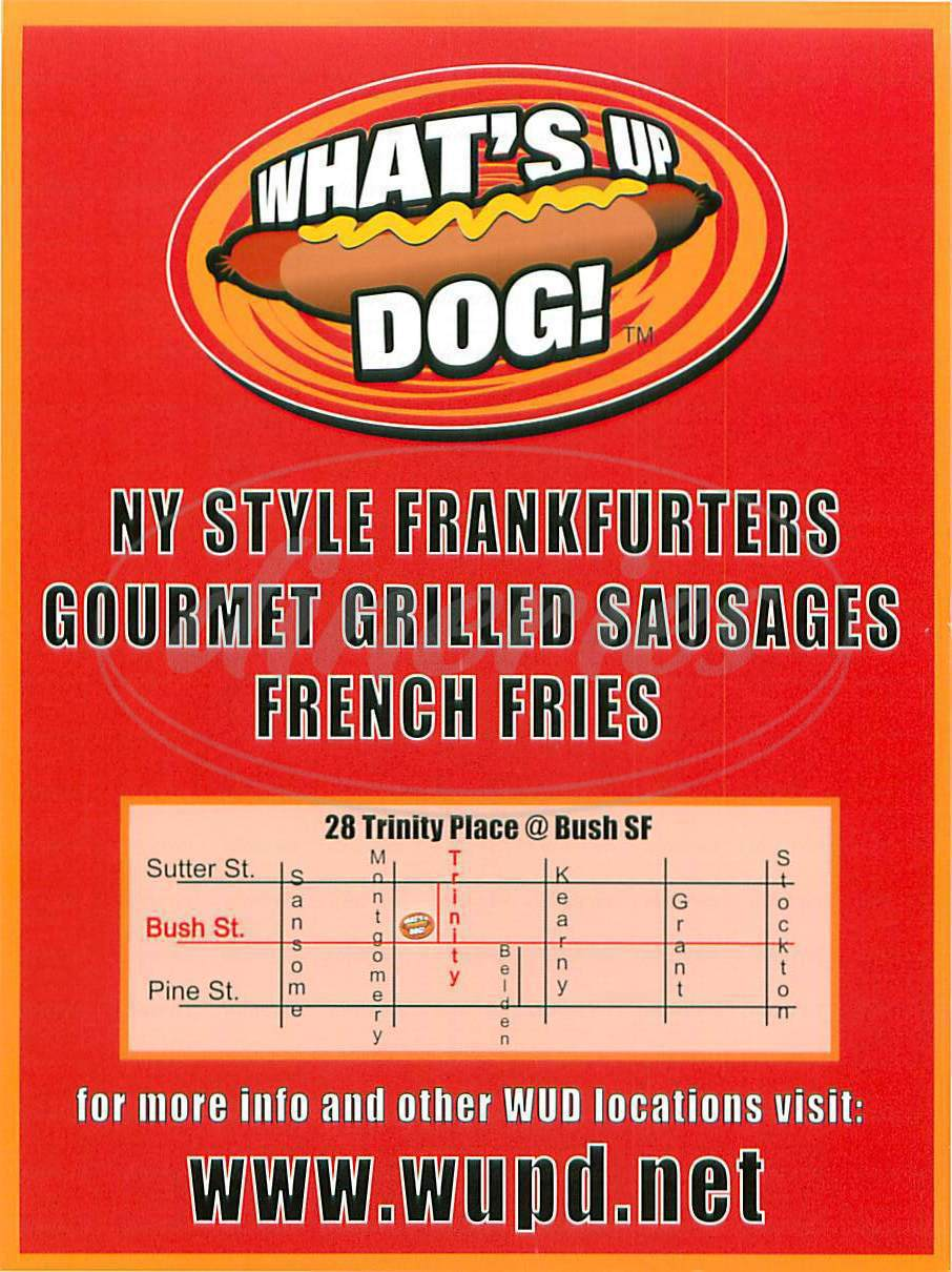 menu for What's Up Dog