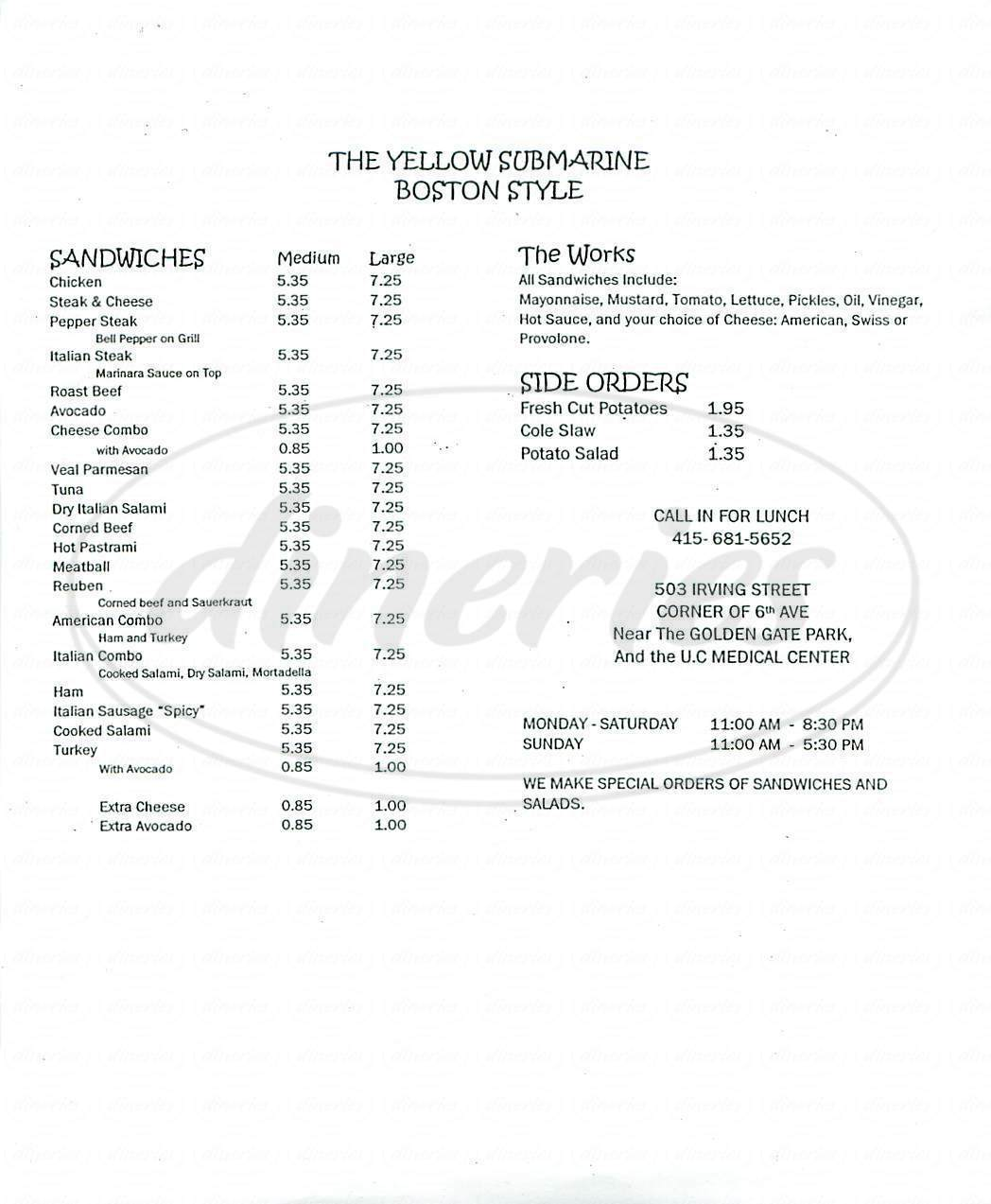 menu for Yellow Submarine