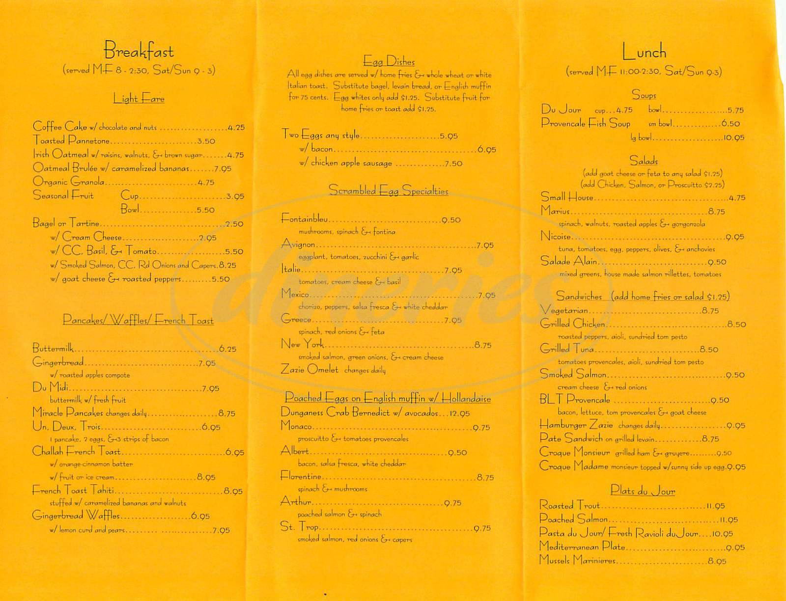 menu for Zazie