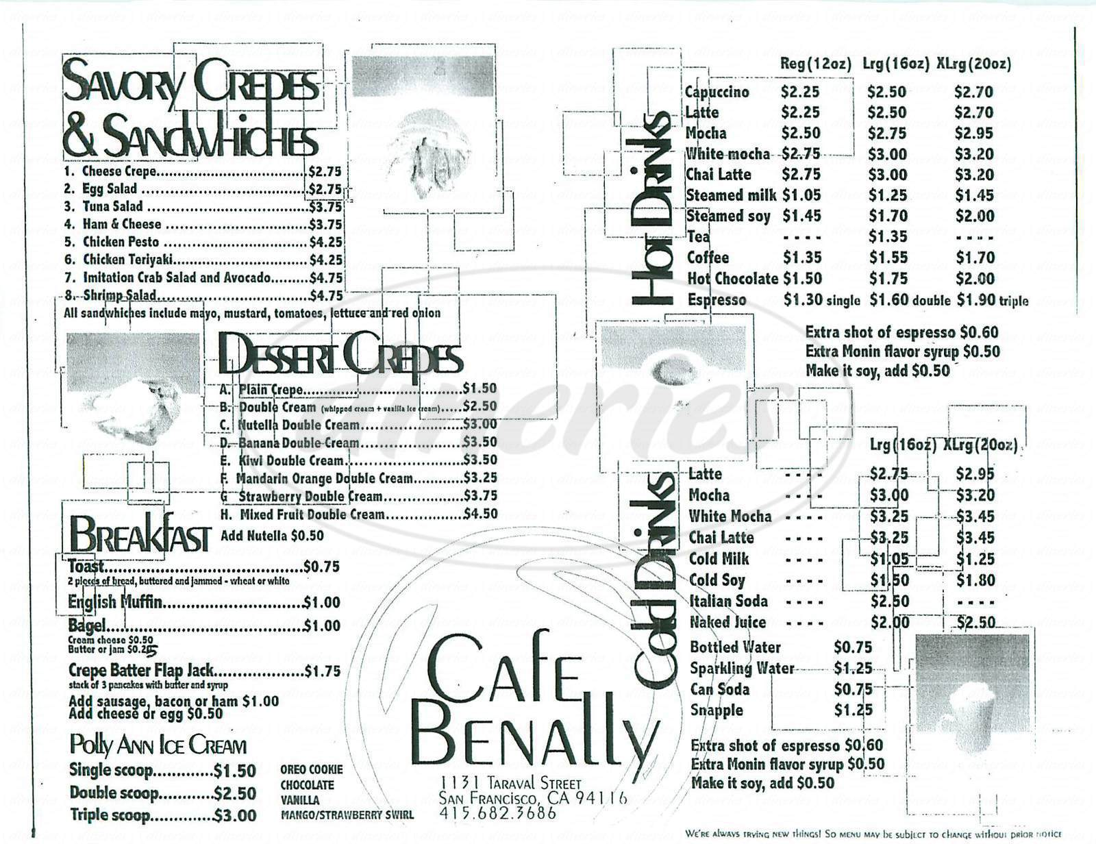 menu for Cafe Benally