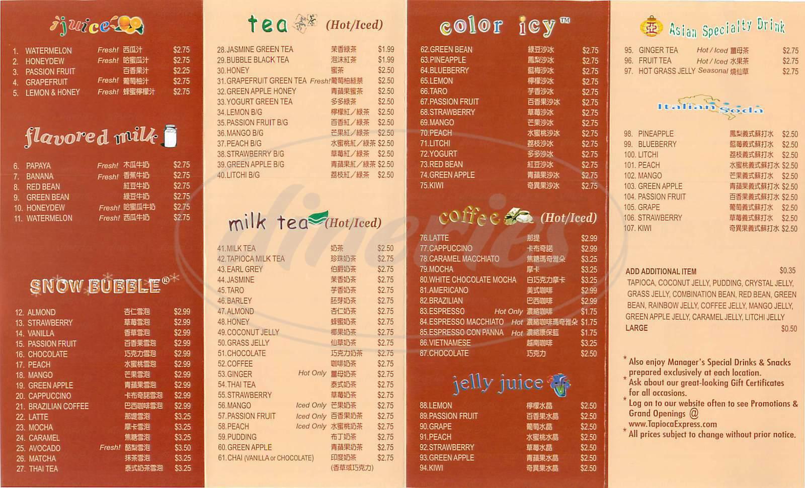 menu for Tapioca Express