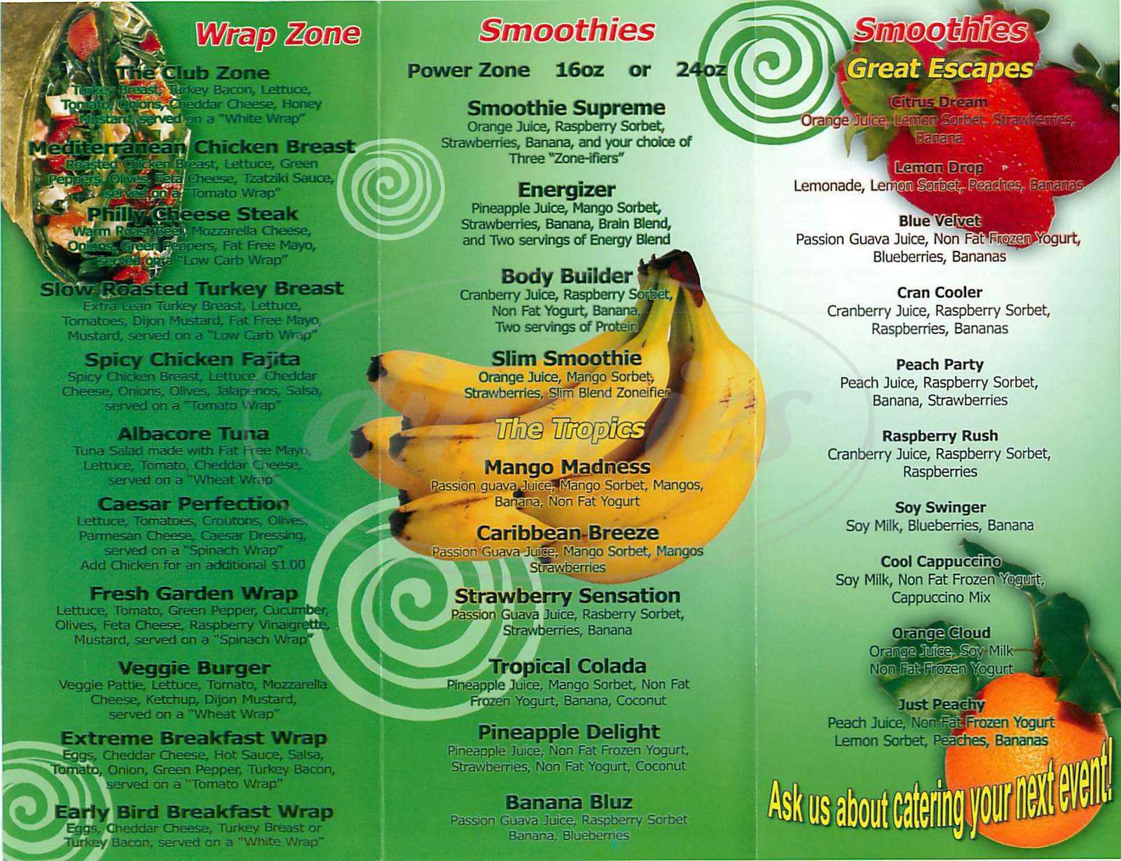 menu for Juice Zone