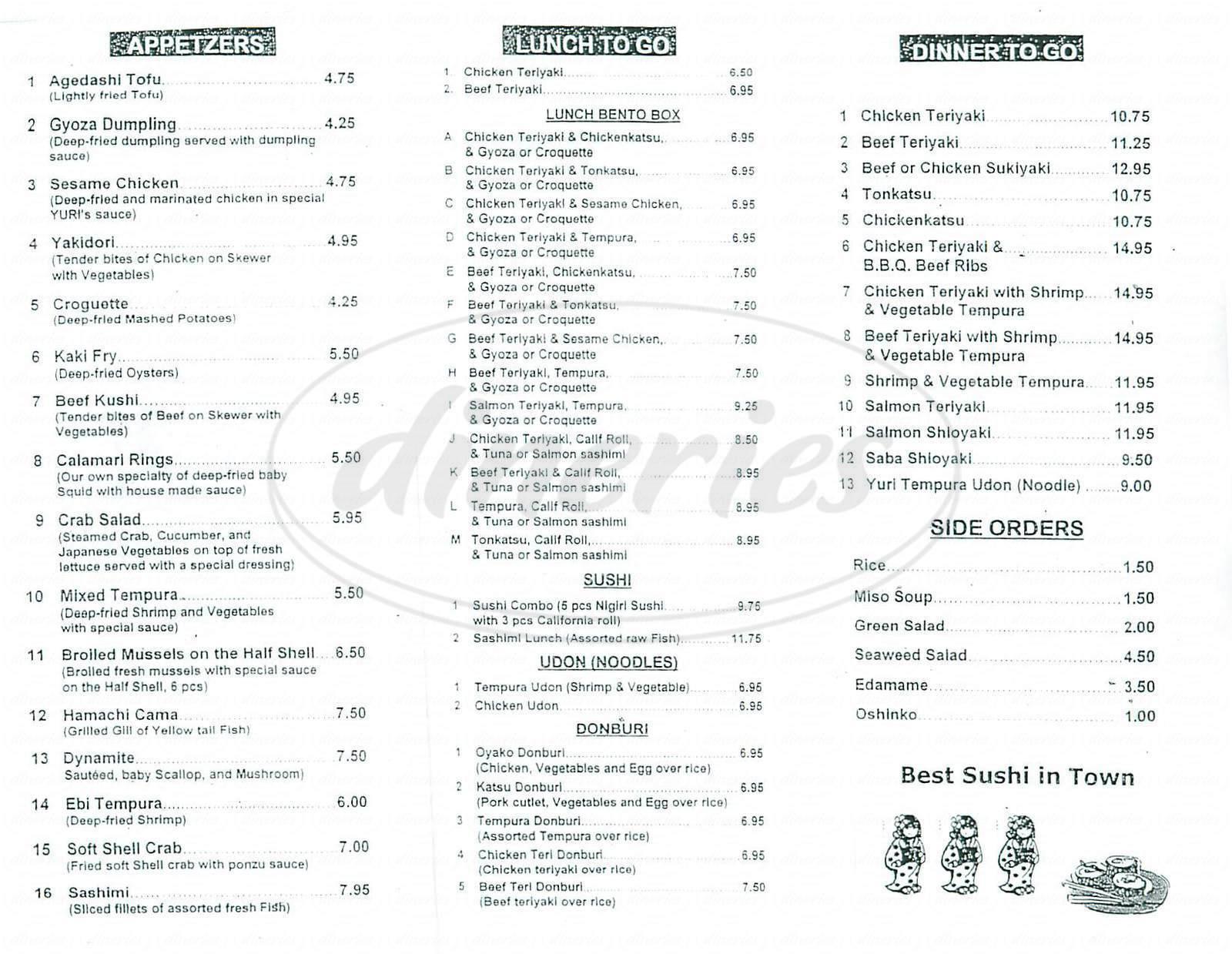 menu for Yuri