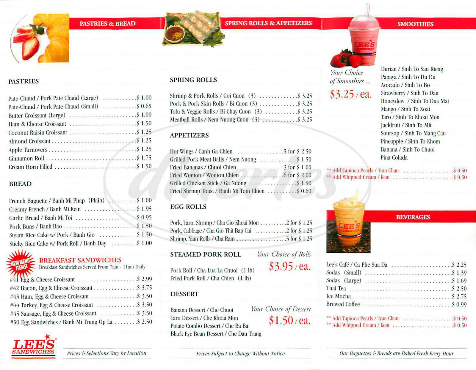 menu for Lee's Sandwiches