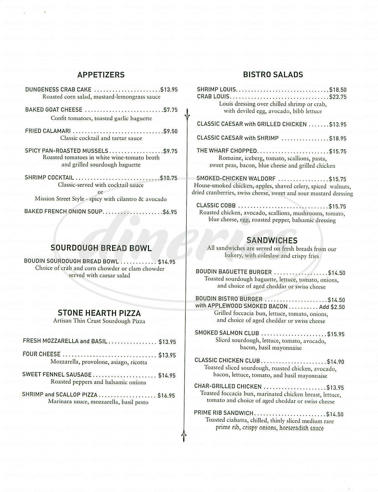 menu for Bistro Boudin