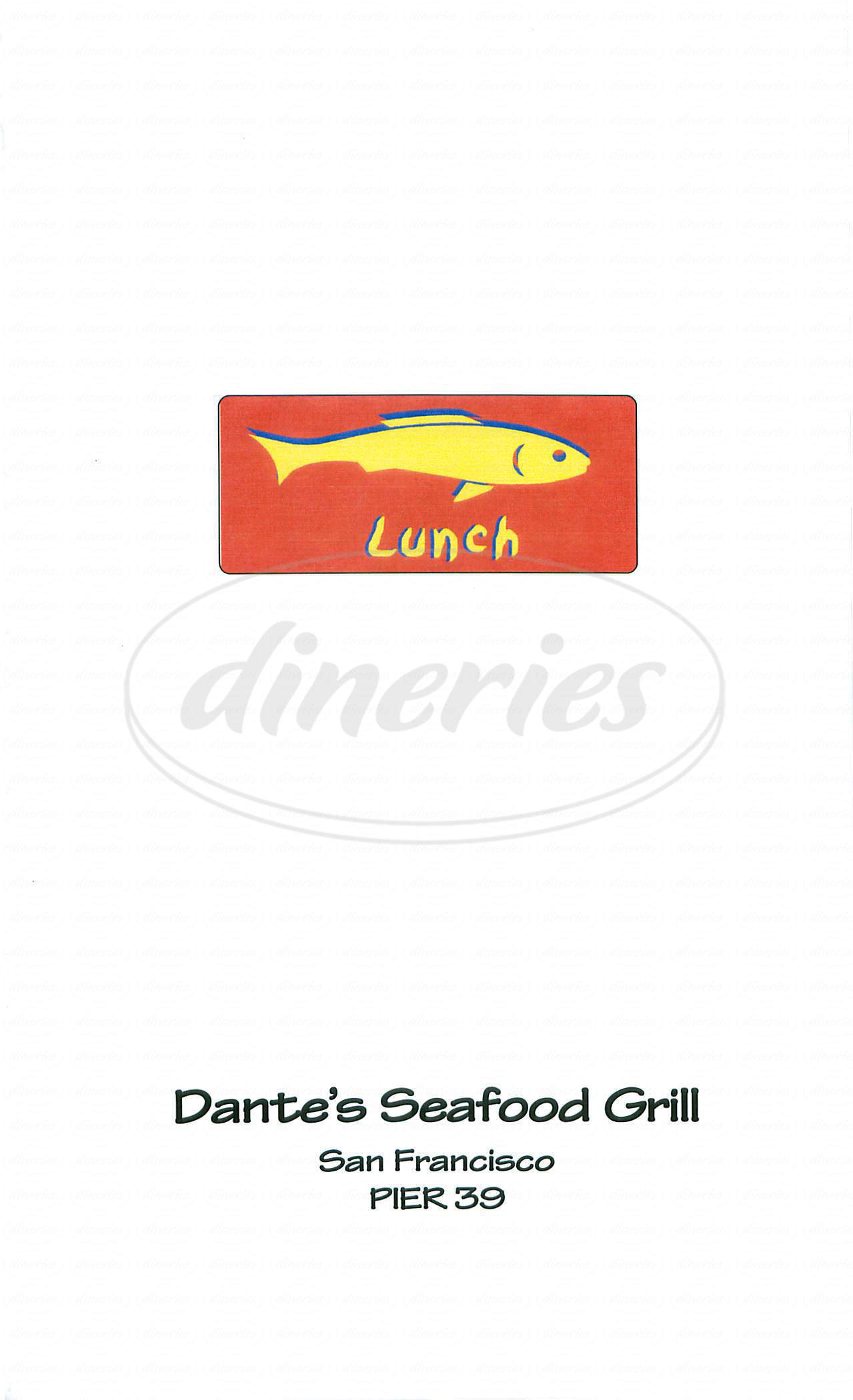 menu for Dante's Seafood Grill