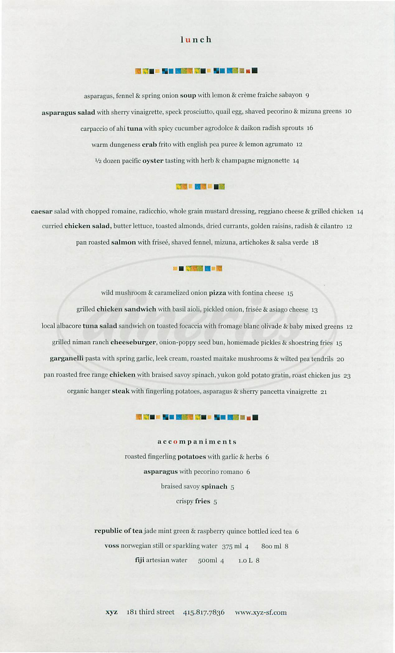 menu for XYZ