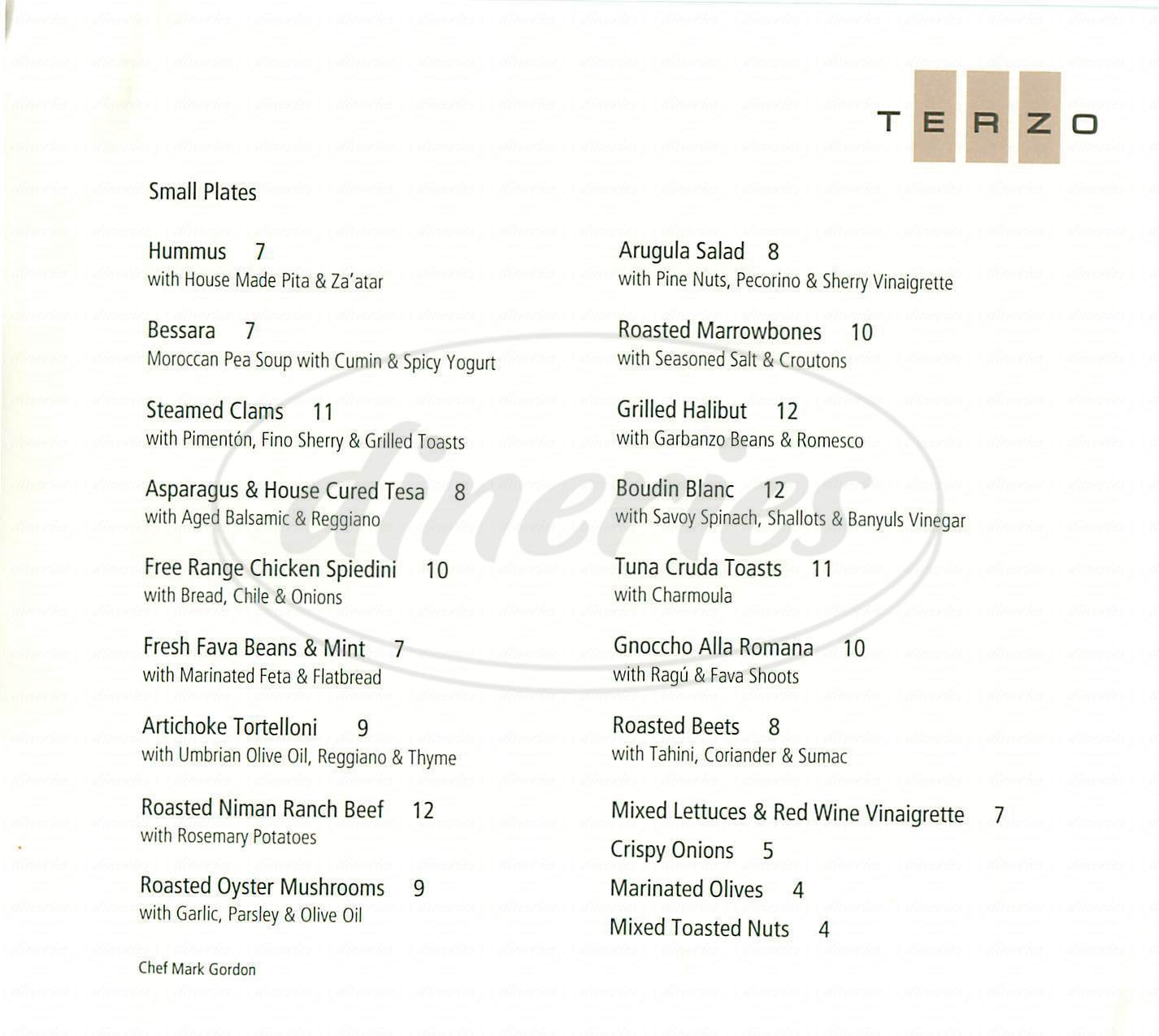 menu for Terzo