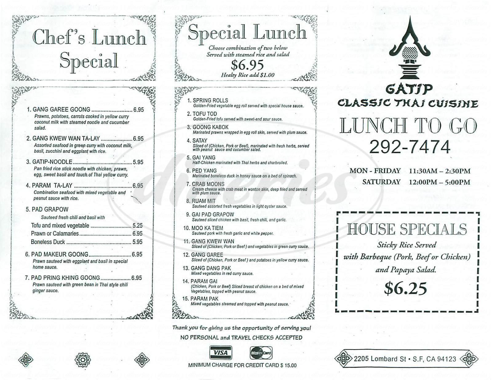 menu for Gatip