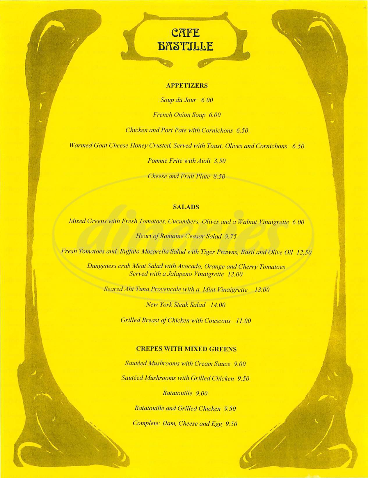 menu for Cafe Bastille