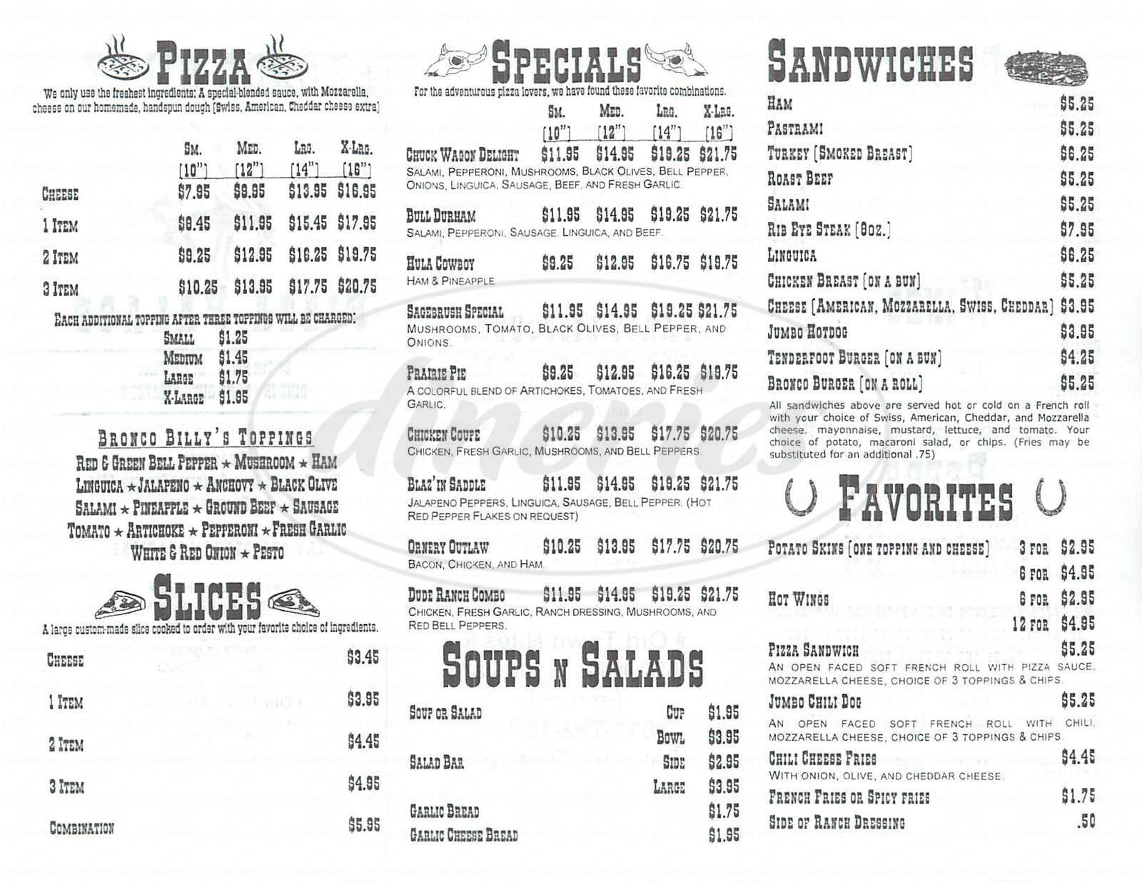 menu for Bronco Billys Pizza Palace
