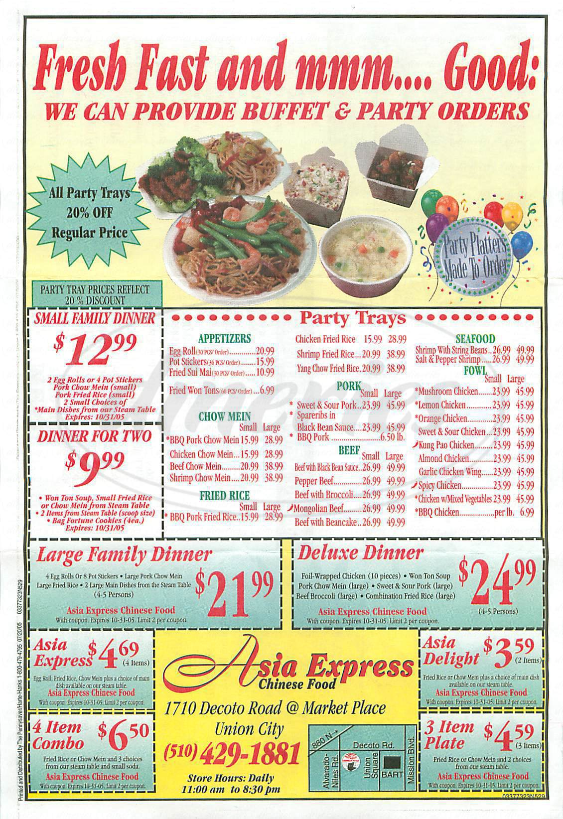menu for Asia Express