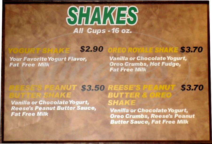 menu for Yogurt Park