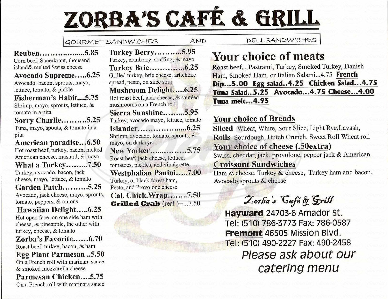 menu for Zorba's Café and Grill