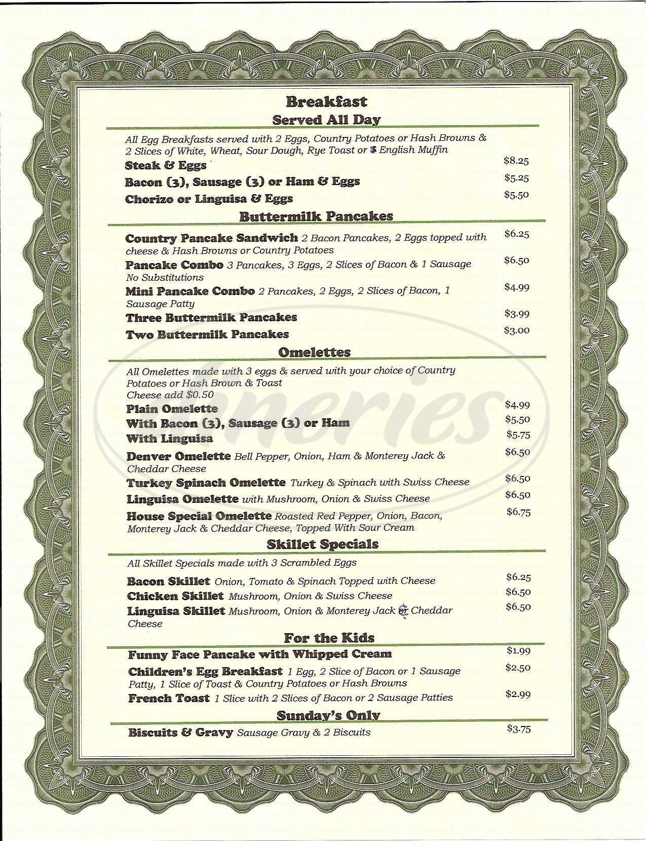 menu for B Street Grill