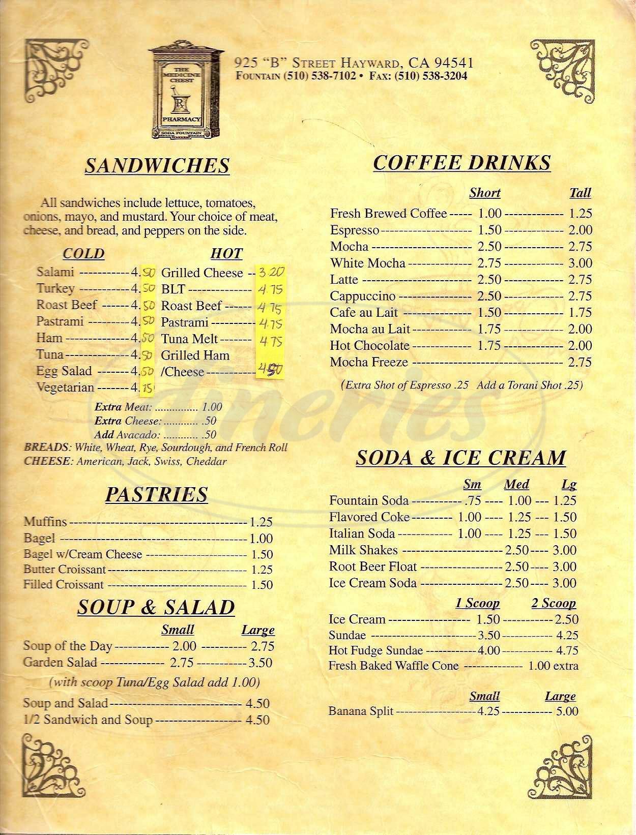 menu for Soda Fountain