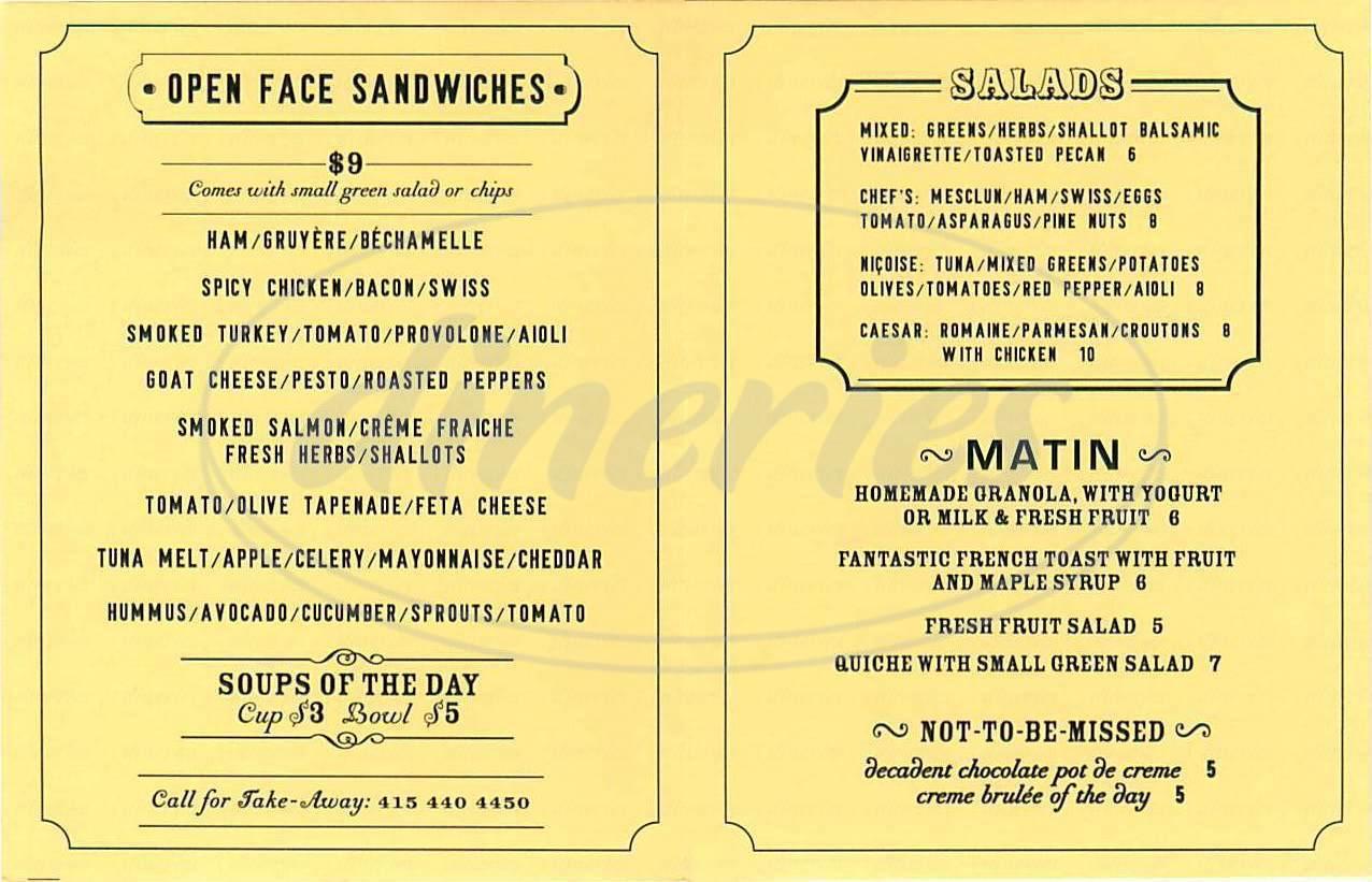 menu for La Boulange