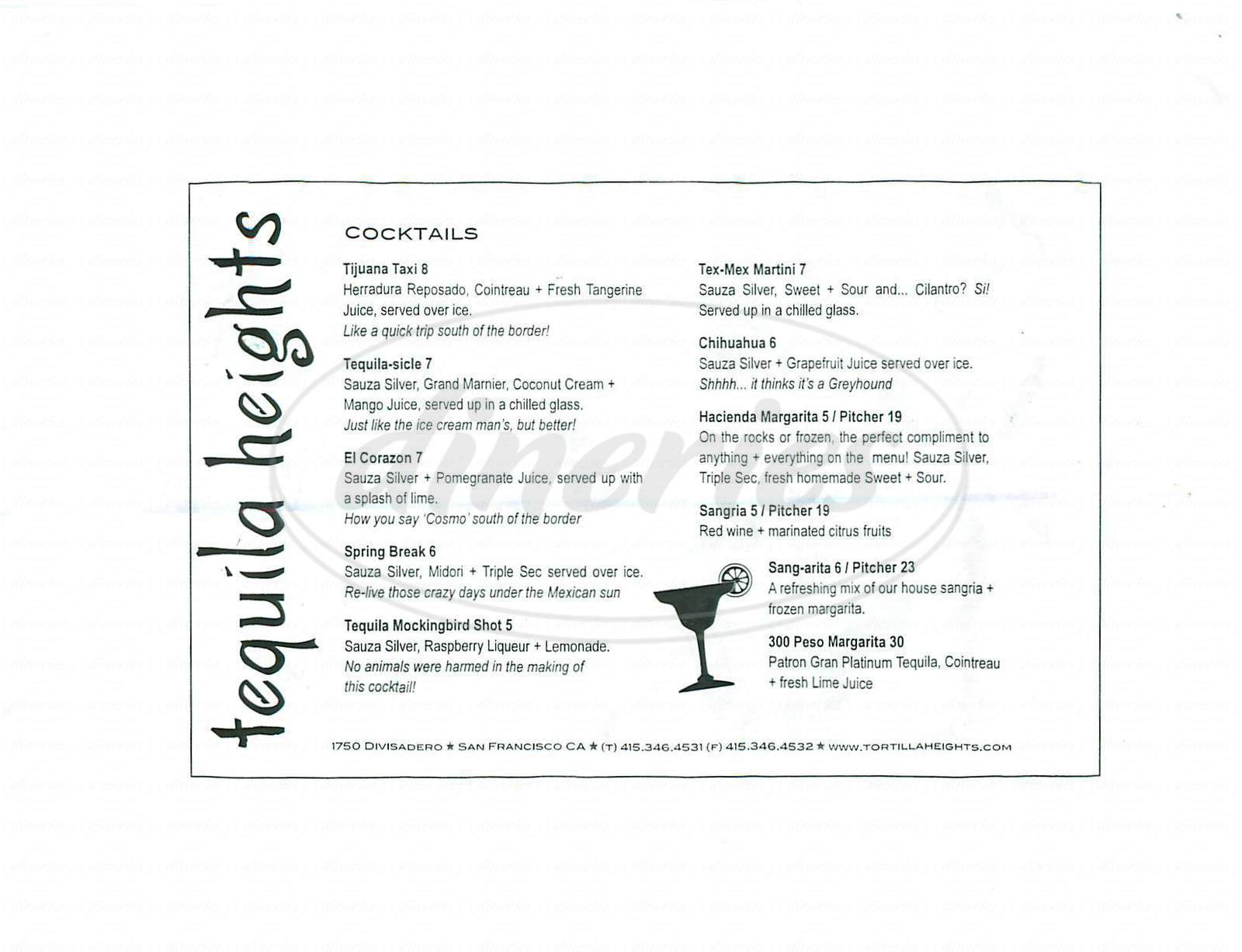 menu for Tortilla Heights