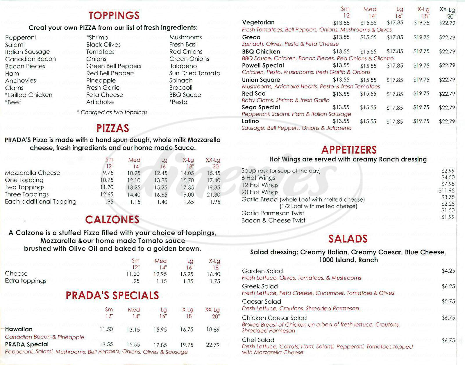 menu for Pizza Prada