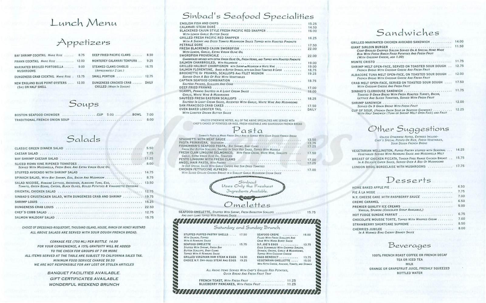 menu for Sinbad's
