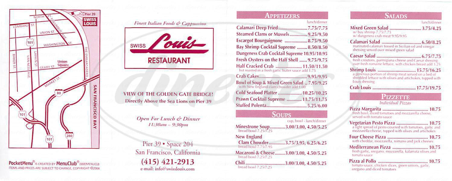 menu for Swiss Louis