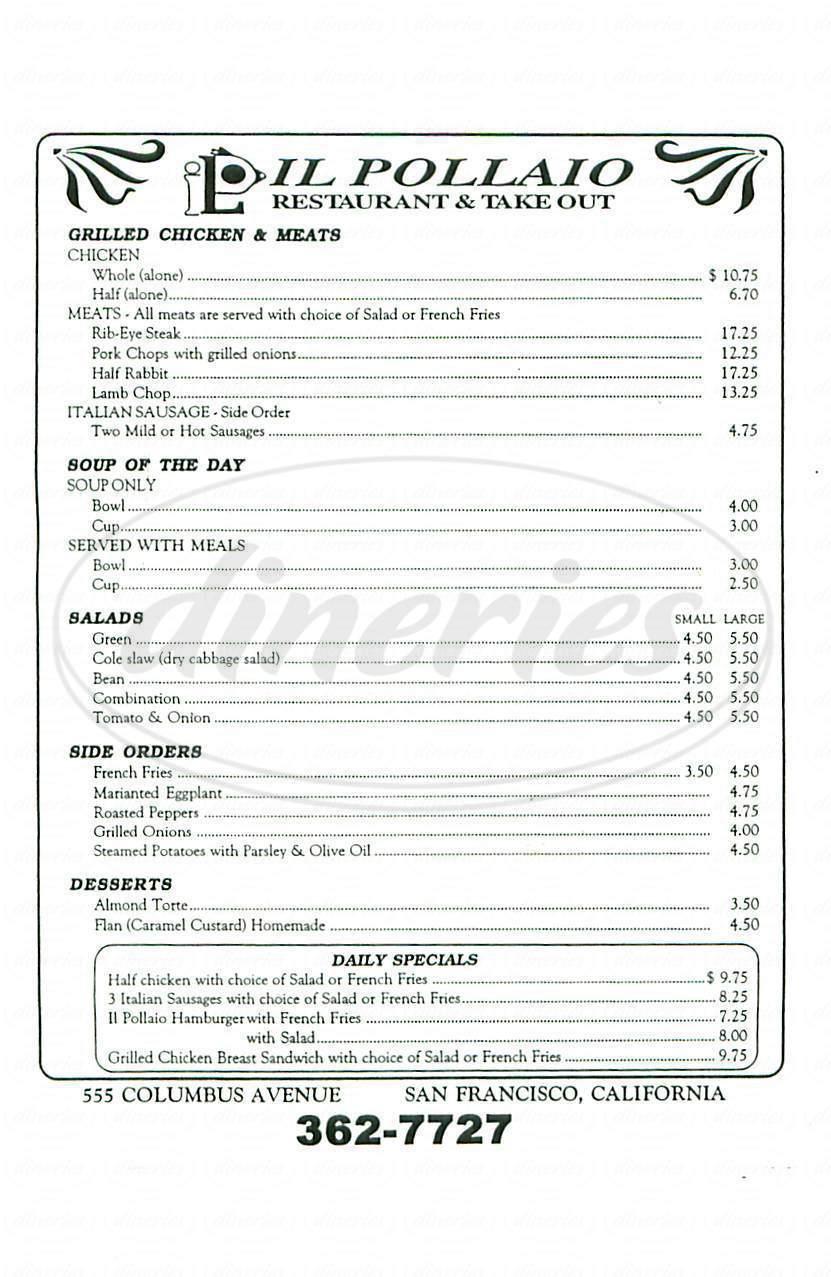 menu for Il Pollaio