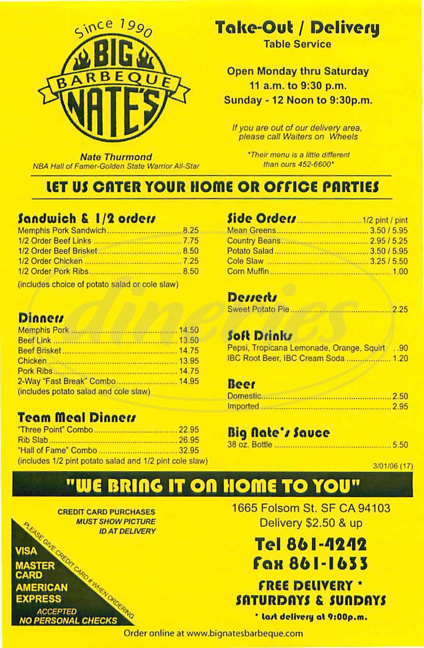 menu for Big Nate's BBQ