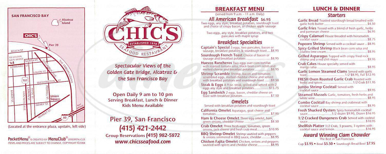 menu for Chic's