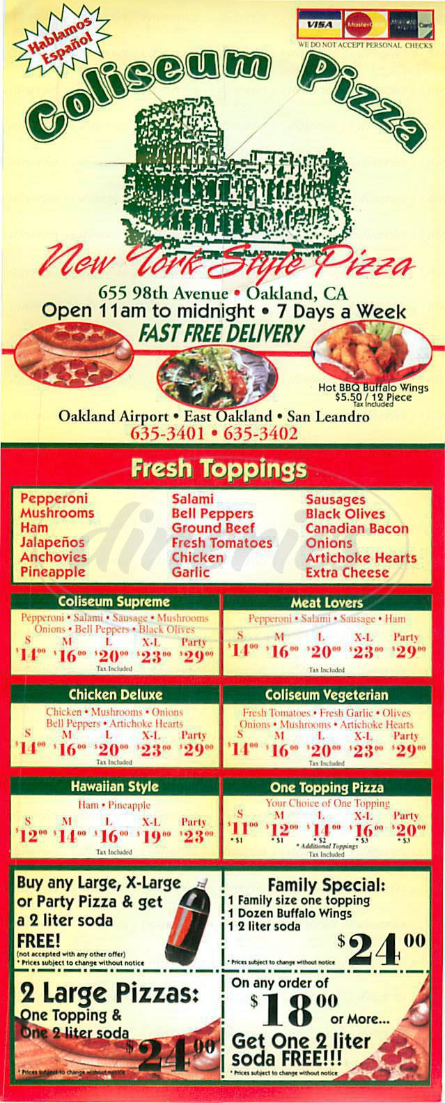 menu for Coliseum Pizza