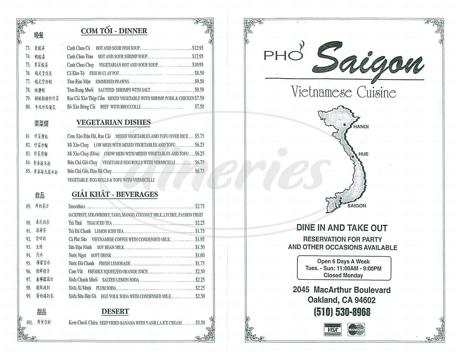 menu for Pho Saigon