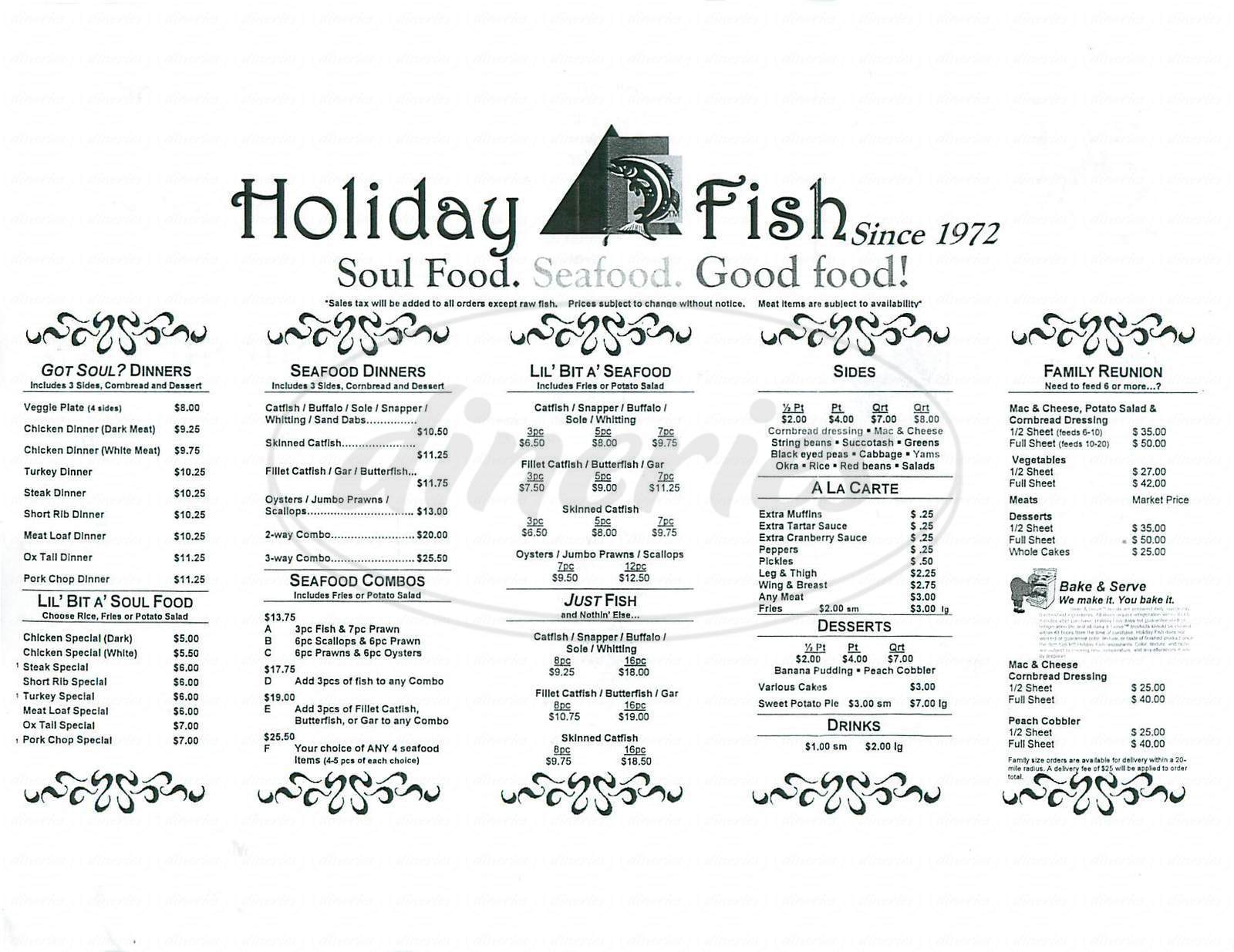menu for Holiday Fish