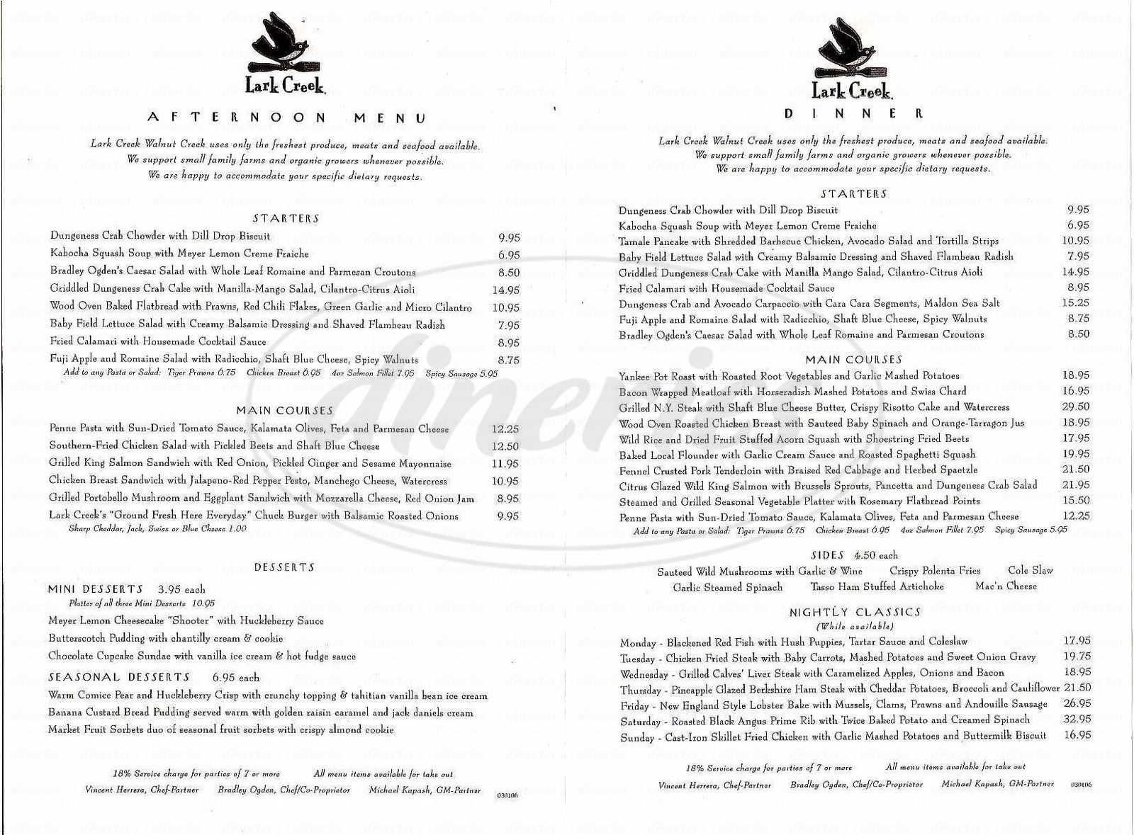 menu for Lark Creek