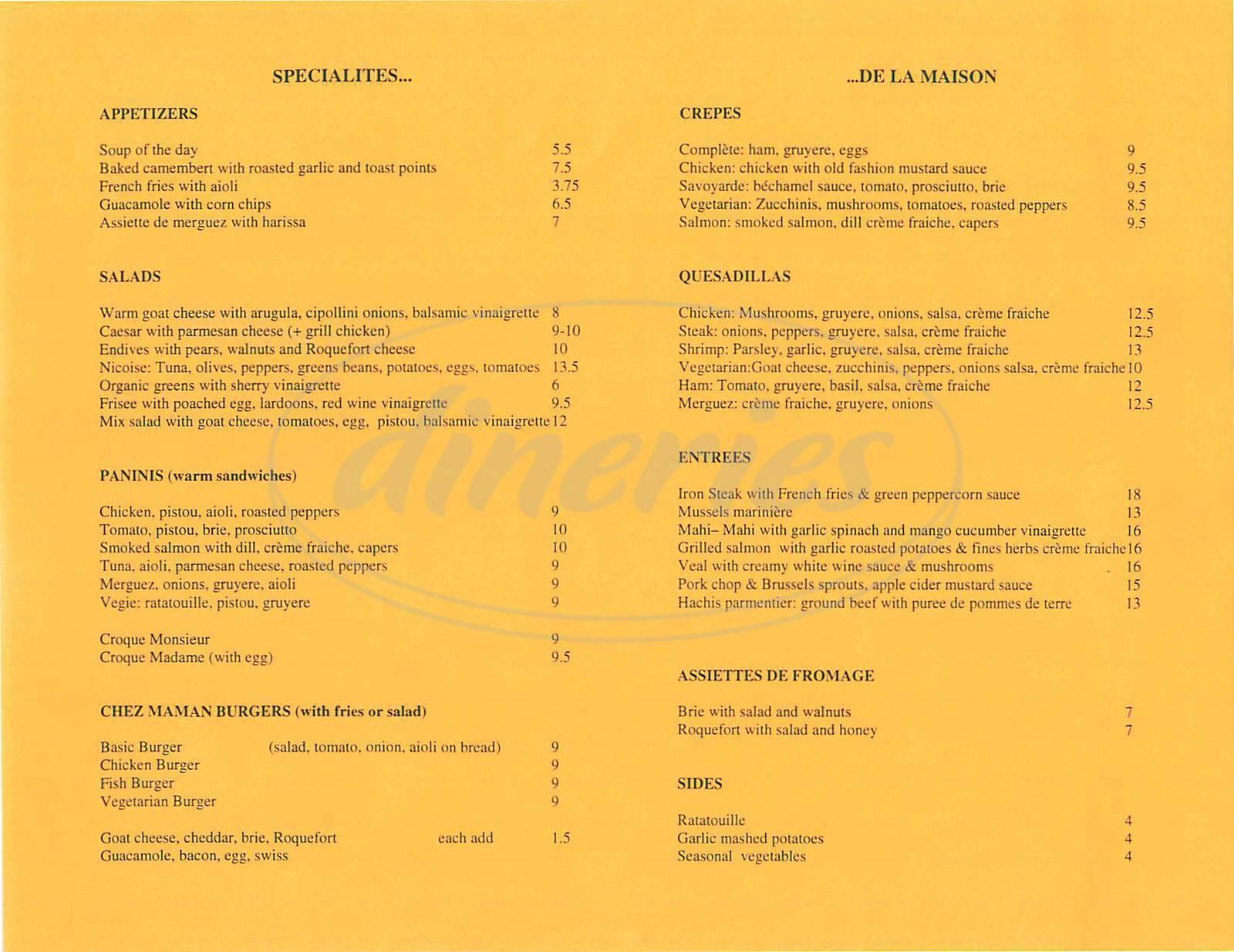 menu for Chez Maman