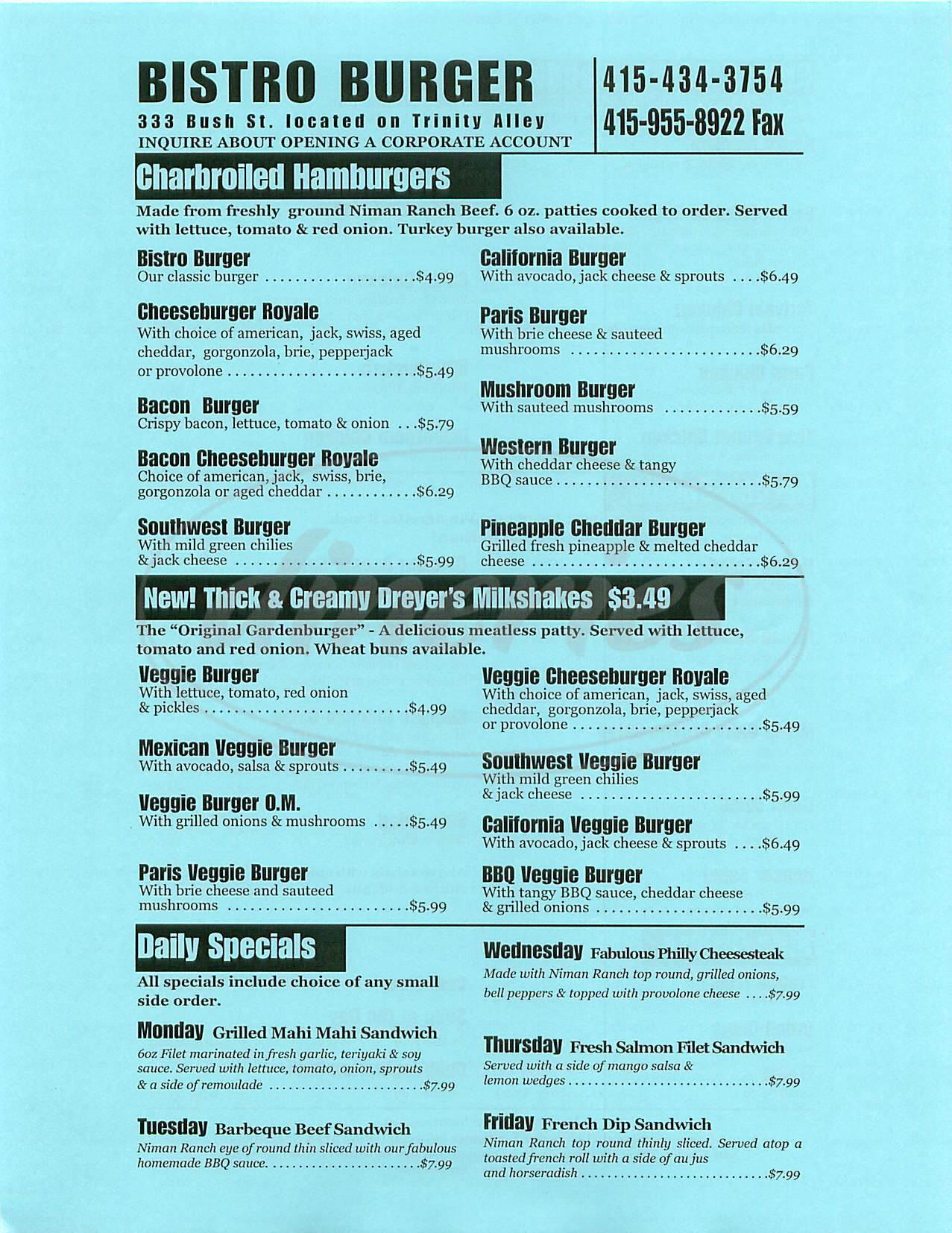 menu for Bistro Burger