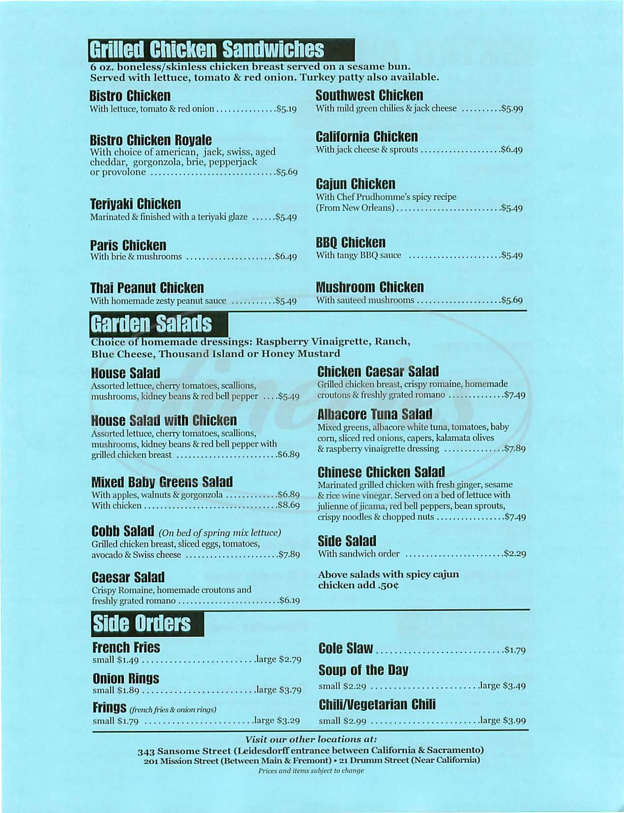 menu for Bistro Burger