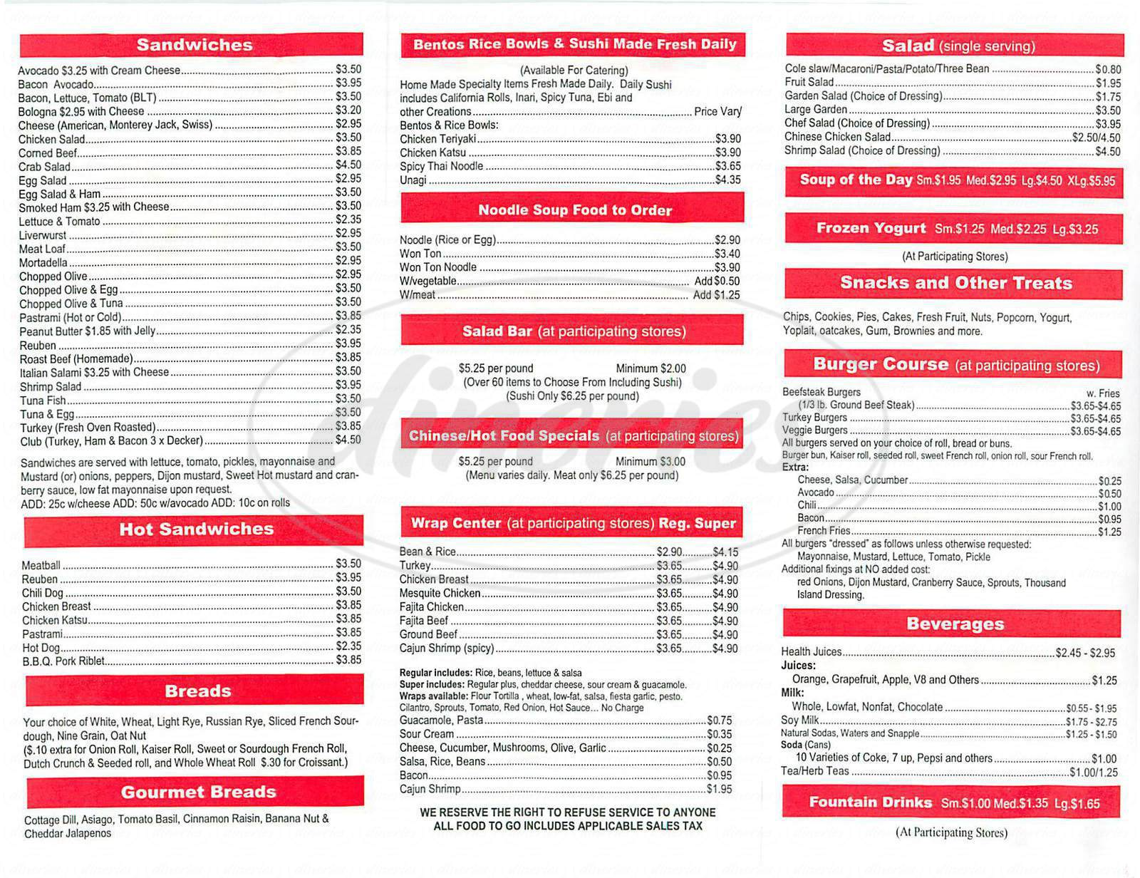 menu for Lee's Deli
