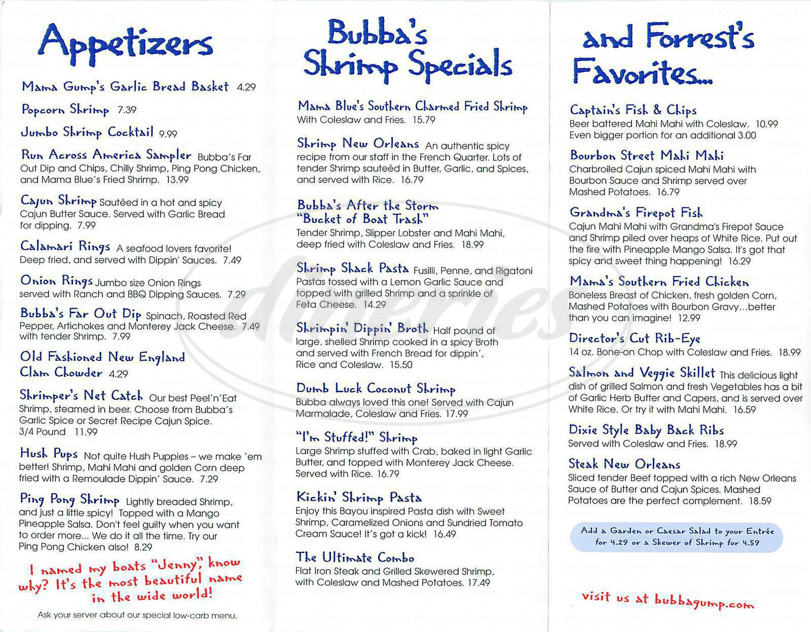menu for Bubba Gump Shrimp Co.