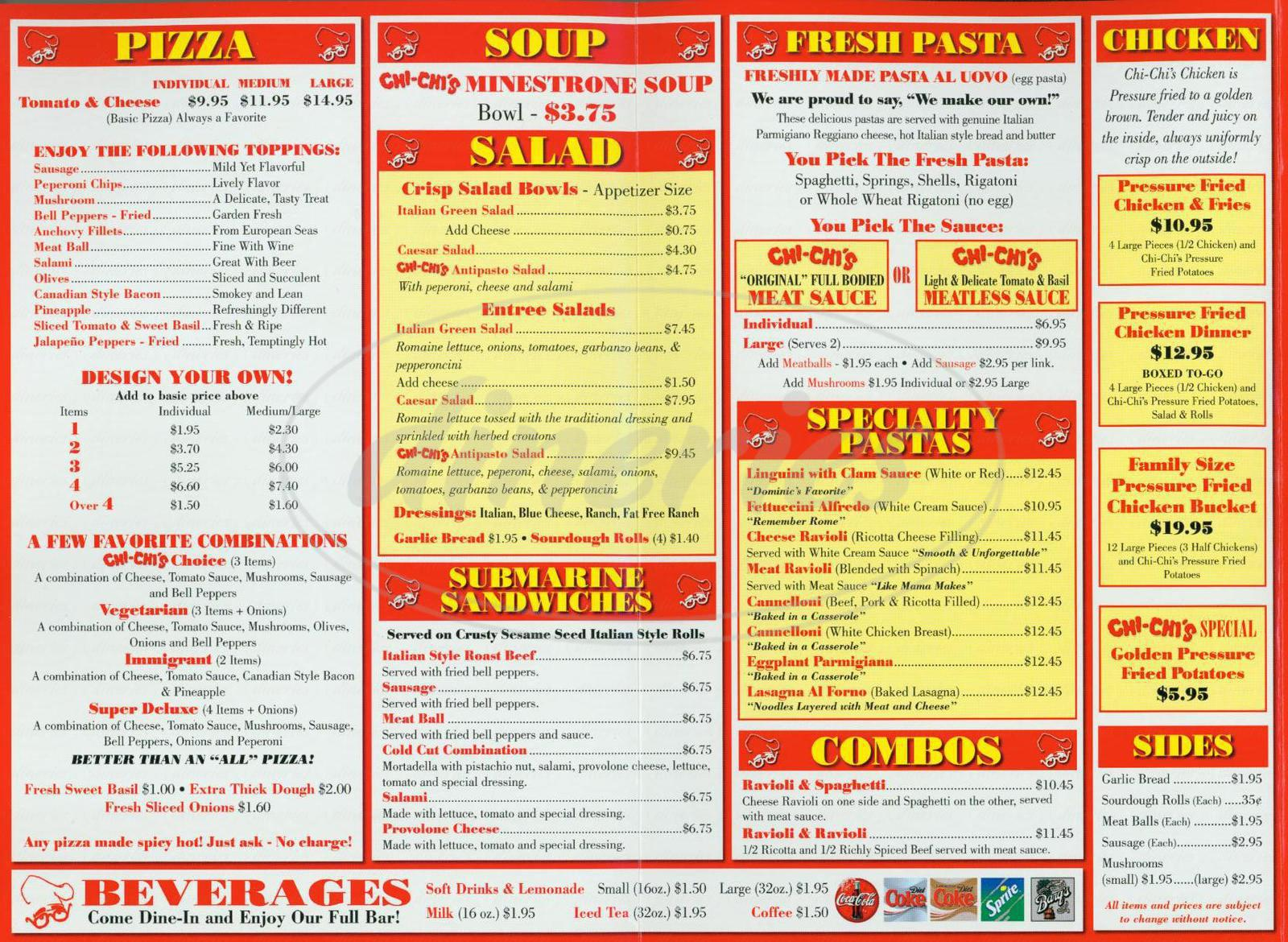 menu for Chi Chi's Pizza