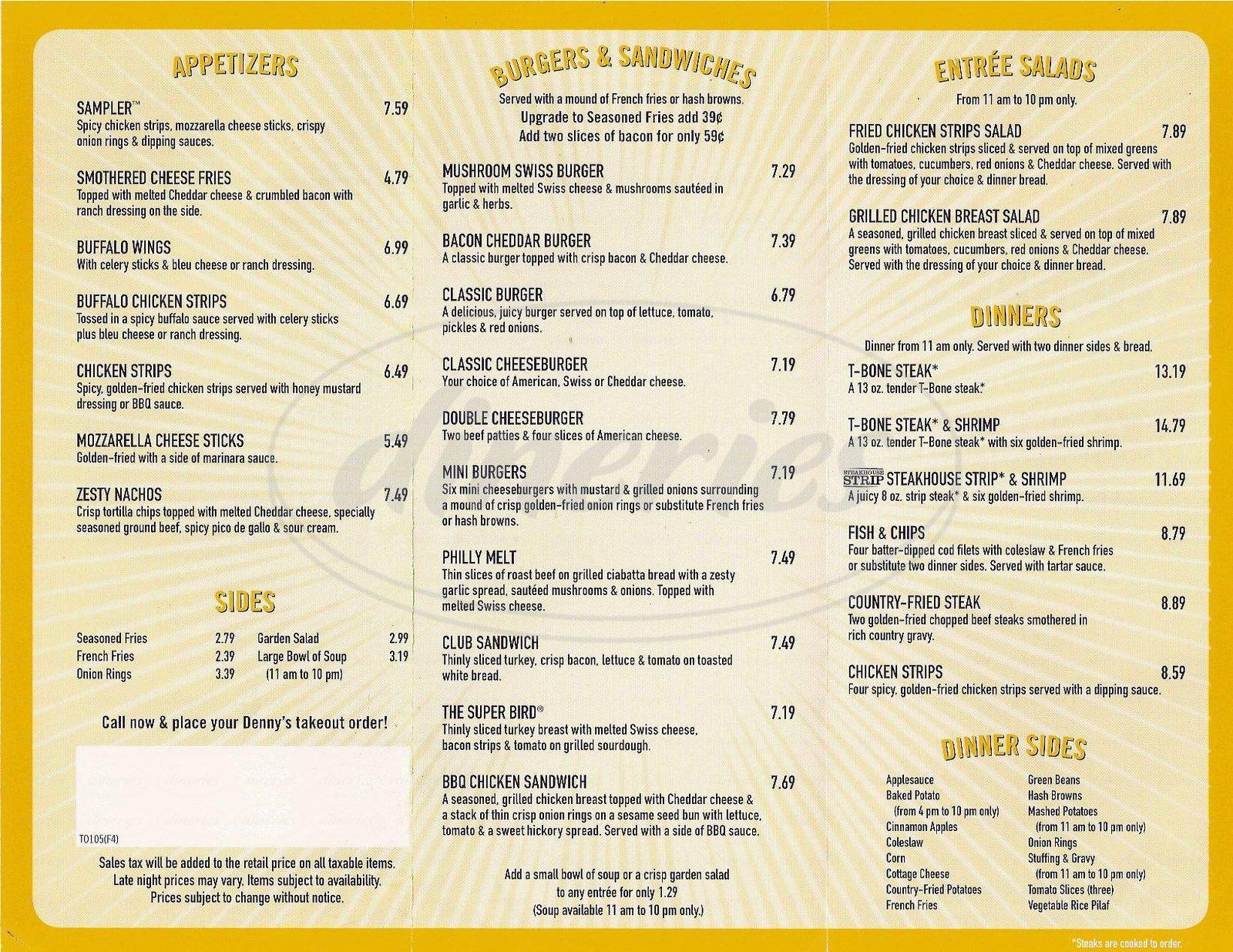 menu for Denny's