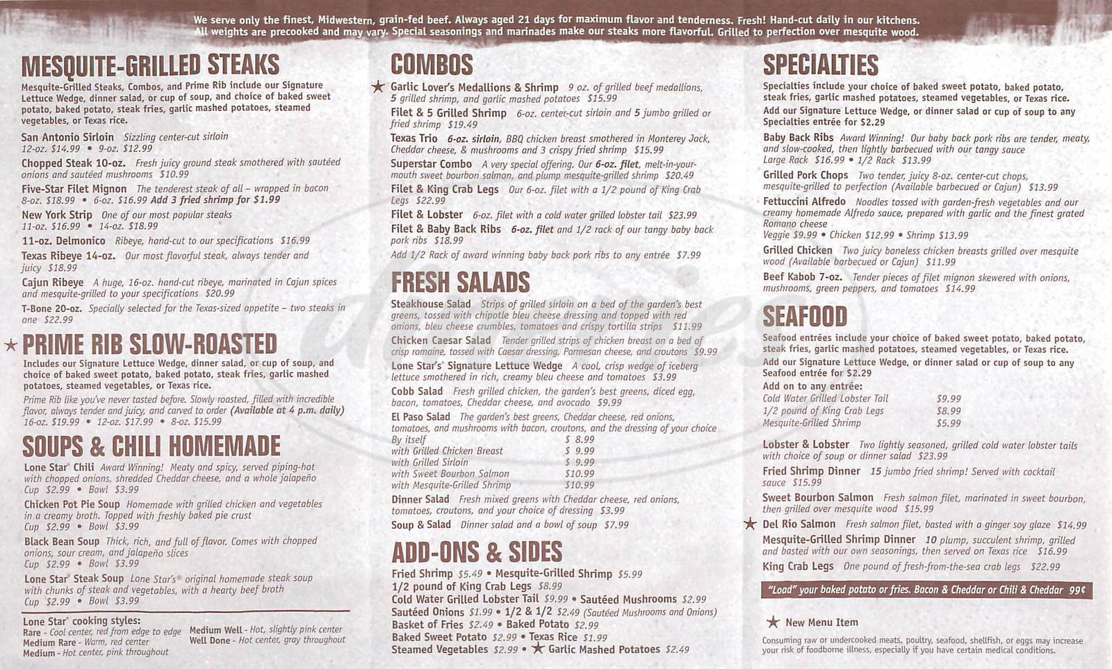 menu for Lone Star Steakhouse & Saloon