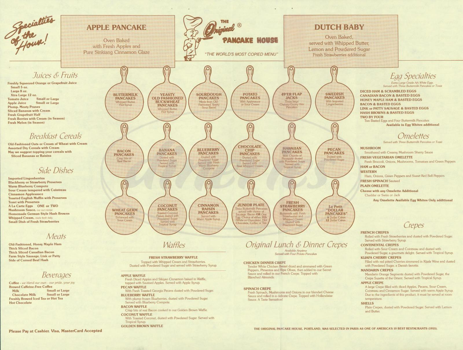 menu for The Original Pancake House