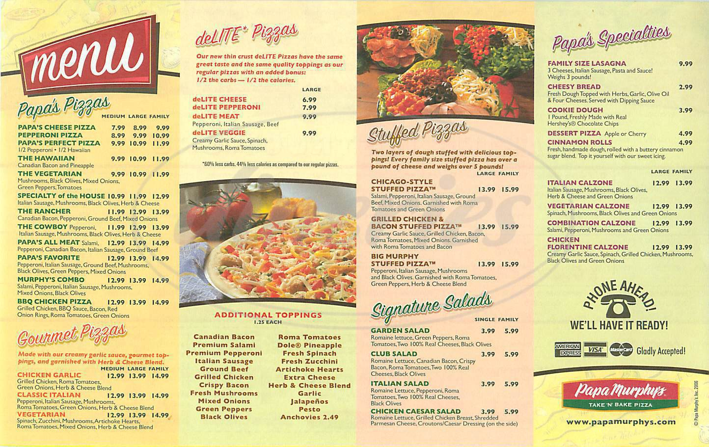 menu for Papa Murphys Take N Bake Pizza
